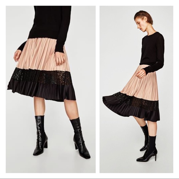 34148bfade zara • two tone pleated midi skirt. M_5bdfa5a4de6f62435ba09851